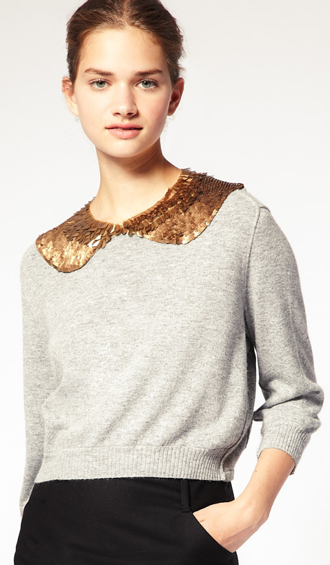Gold sequin contrast peter pan collar necklace