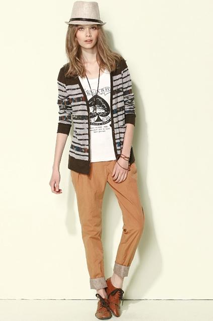 Preppy-style-stripe-printing-cardigan